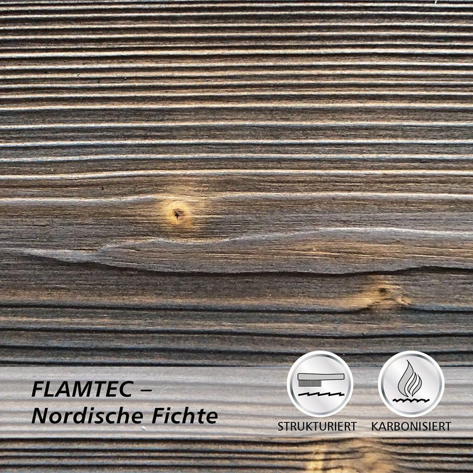 Deska elewacyjna lekko opalana ogniem FLAMTEC + szczotkowana świerk skandynawski