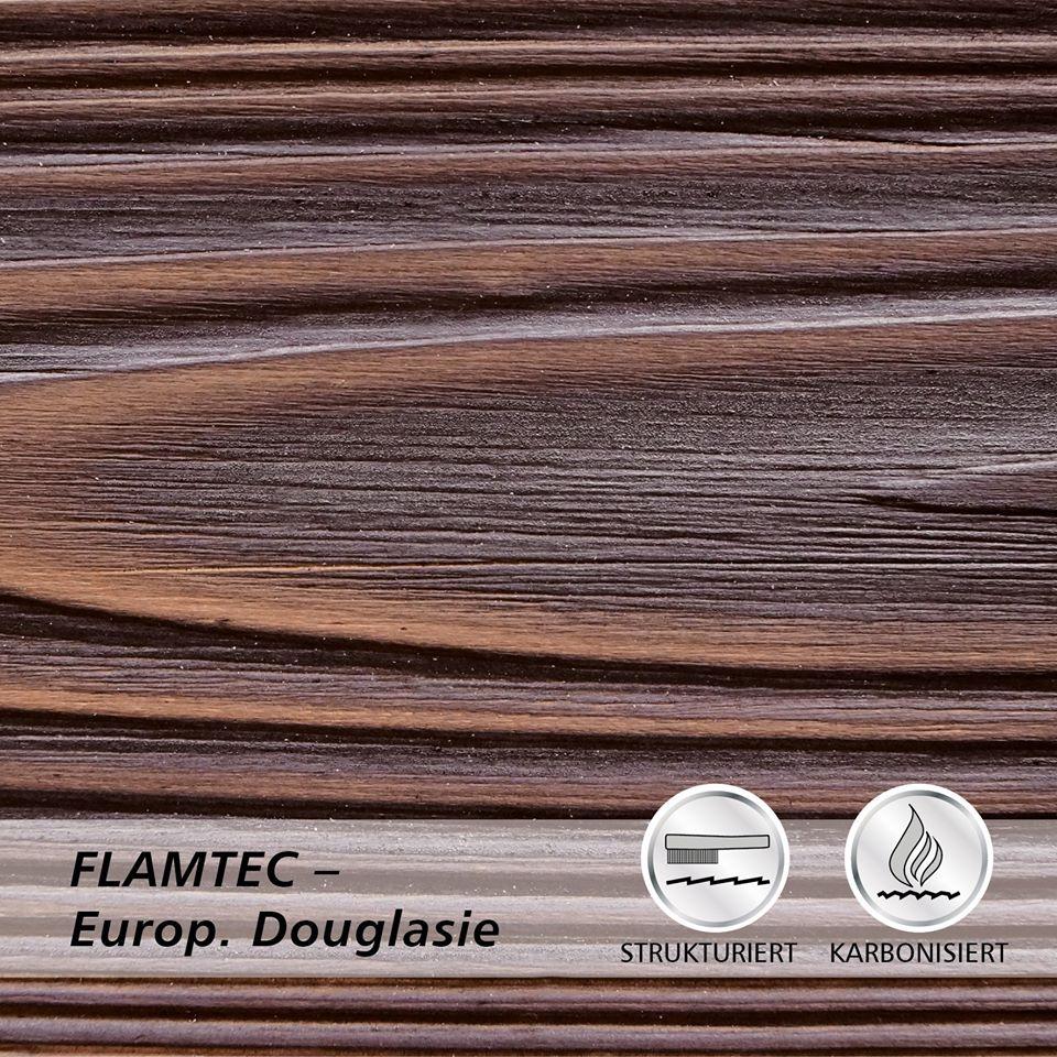 Deska elewacyjna lekko opalana ogniem FLAMTEC + szczotkowana daglezja