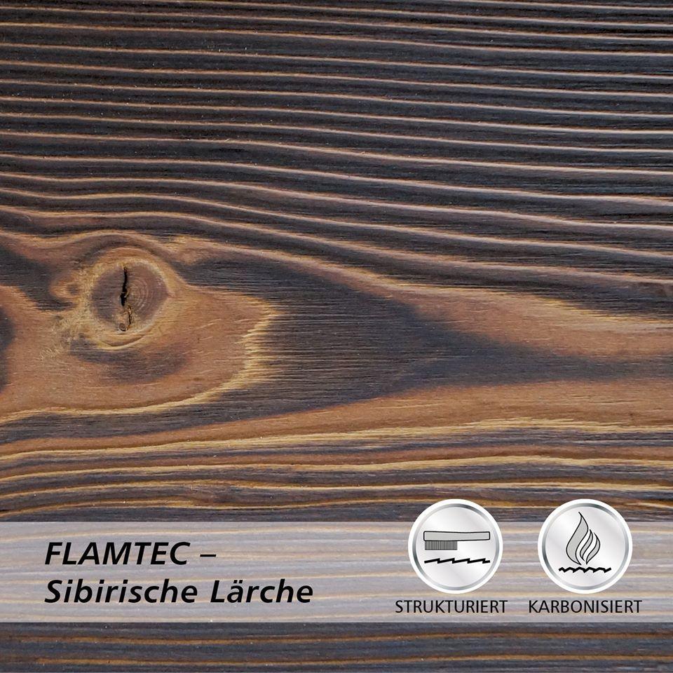 Deska elewacyjna lekko opalana ogniem FLAMTEC + szczotkowana modrzew syberyjski