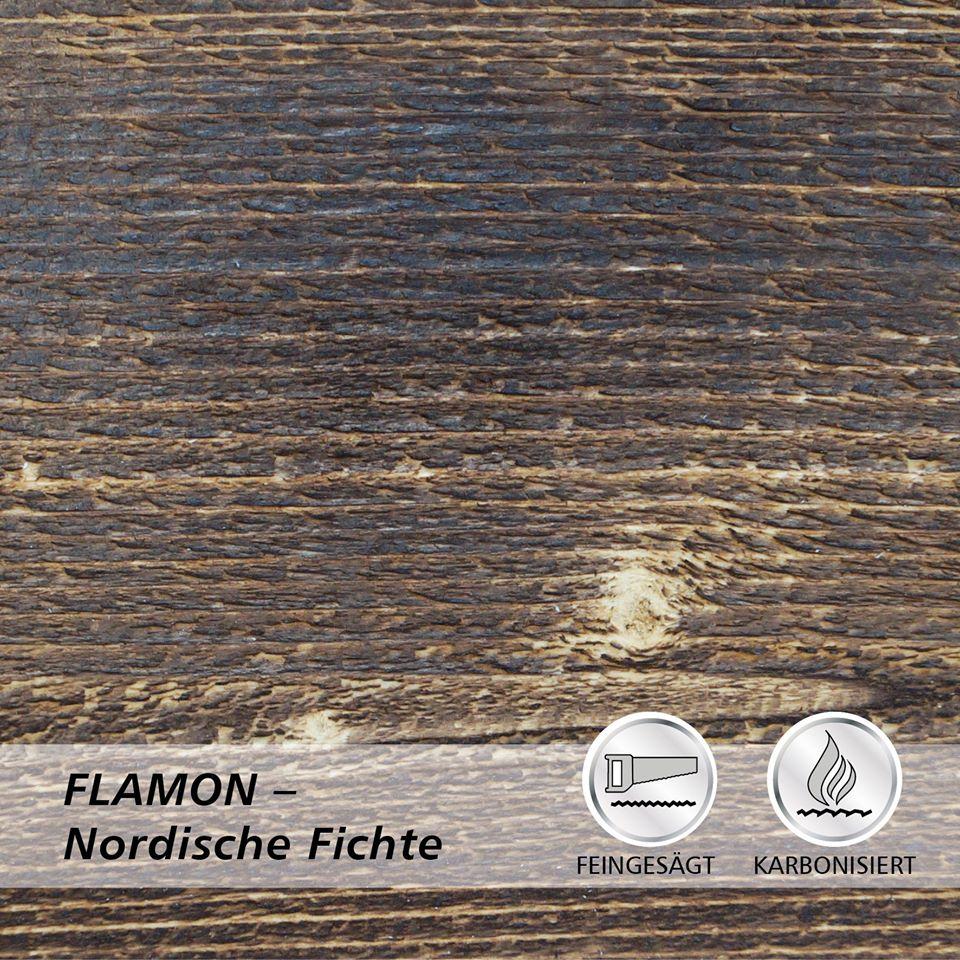 Deska elewacyjna lekko opalana ogniem, powierzchnia deski delikatnie szorstko piłowana FLAMON świerk skandynawski