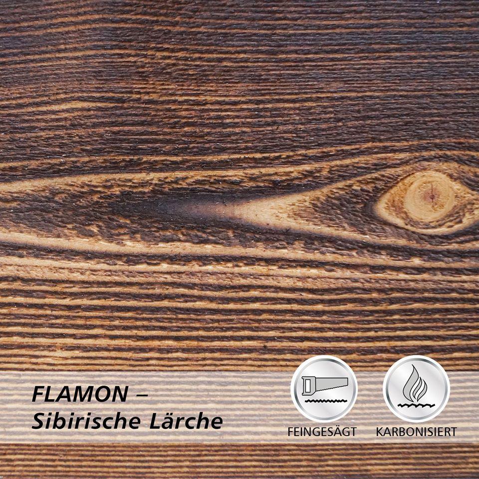 Deska elewacyjna lekko opalana ogniem, powierzchnia deski delikatnie szorstko piłowana FLAMON modrzew syberyjski