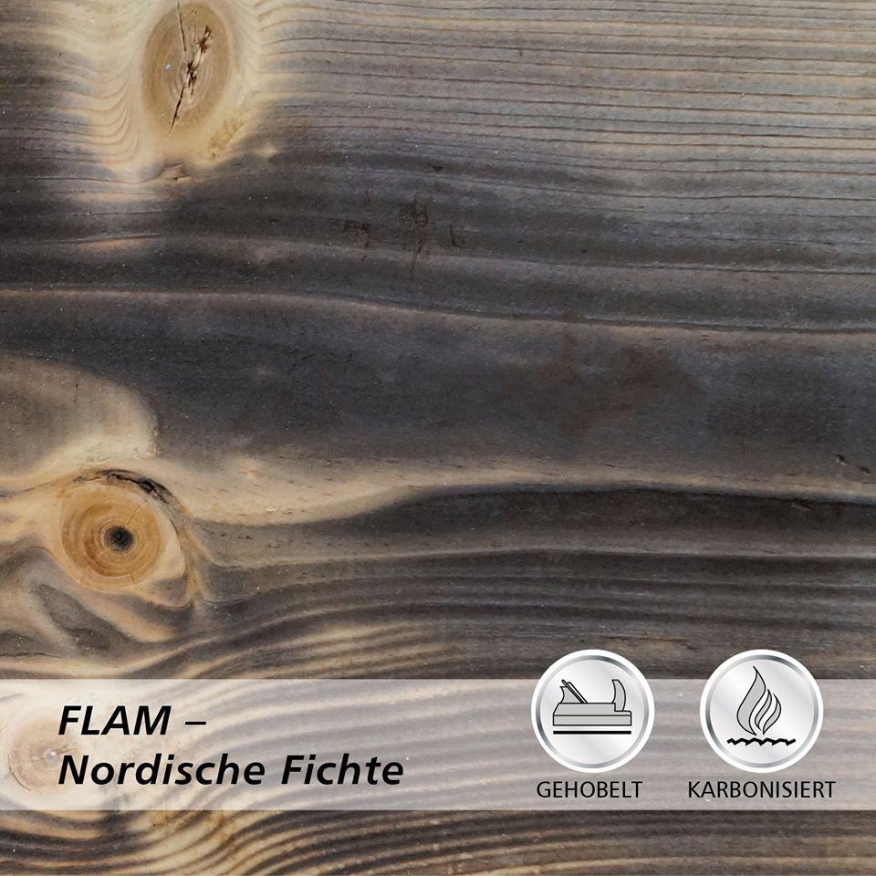 Drewno lekko opalane ogniem FLAM świerk skandynawski