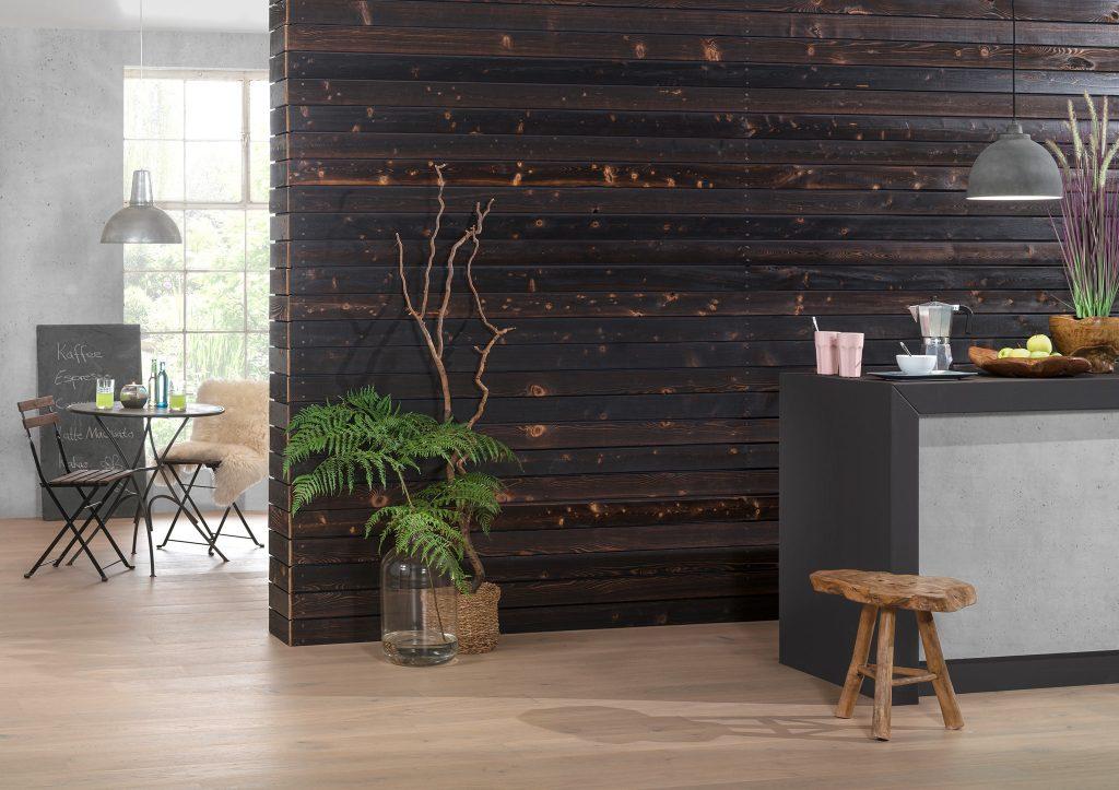 Drewno lekko opalane ogniem FLAM + bezbarwny lakier, do zastosowanie wewnątrz (1)