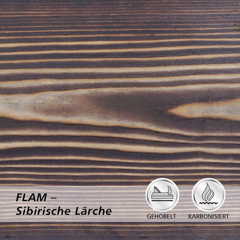 Drewno lekko opalane ogniem FLAM modrzew syberyjski